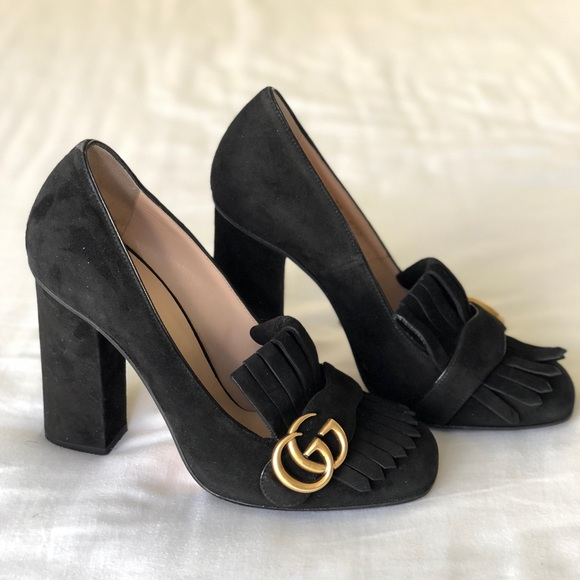 abc043cd57c Authentic Gucci Fringed Pumps Marmont Black Suede